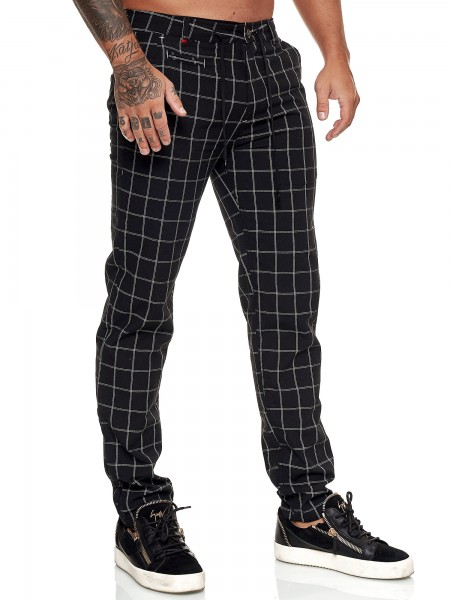 OneRedox Herren Chino Hose Leinenhose Streetwear Clubwear Karomuster Nadelstreifen Modell 5281E
