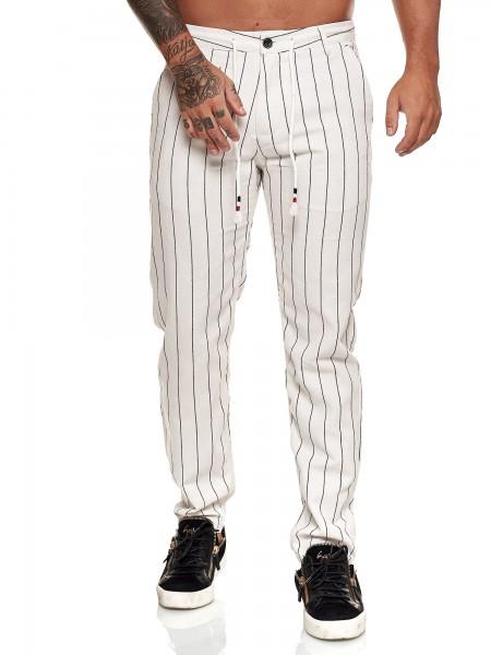 Herren Chino Hose Leinenhose Streetwear Clubwear Karomuster Nadelstreifen Modell 5281E