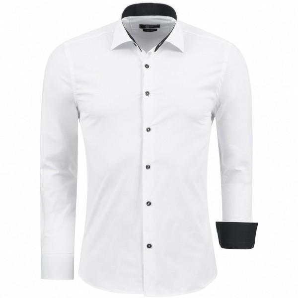 OneRedox Herren Hemd Baumwolle Langarmhemd Slim Fit Freizeithemd Bügelleicht 1122