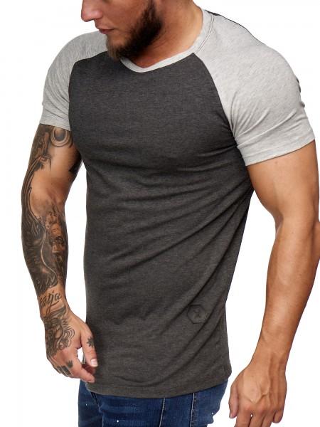 OneRedox Herren T Shirt Kurzarm Poloshirt Polo Shirt Sweatshirt Modell 2031 Antrazit Grau XL