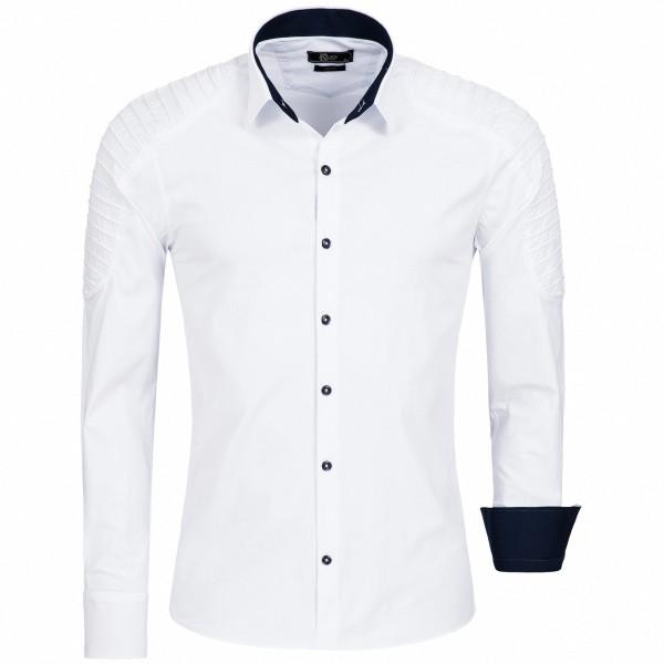 OneRedox Herren Hemd Baumwolle Langarmhemd Slim Fit Freizeithemd Bügelleicht 1137