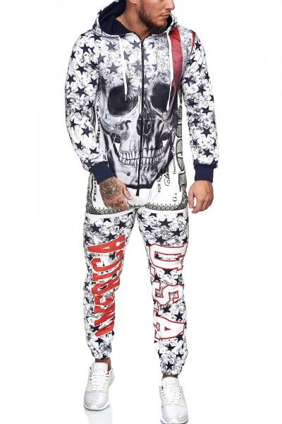 Herren Jumpsuit Einteiler Jogginganzug Trainingsanzug Streetwear 5103CN